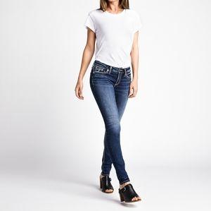 Silver Suki Mid Rise Pencil Skinny Joga Jeans Dark Wash Stretchy Western Boho